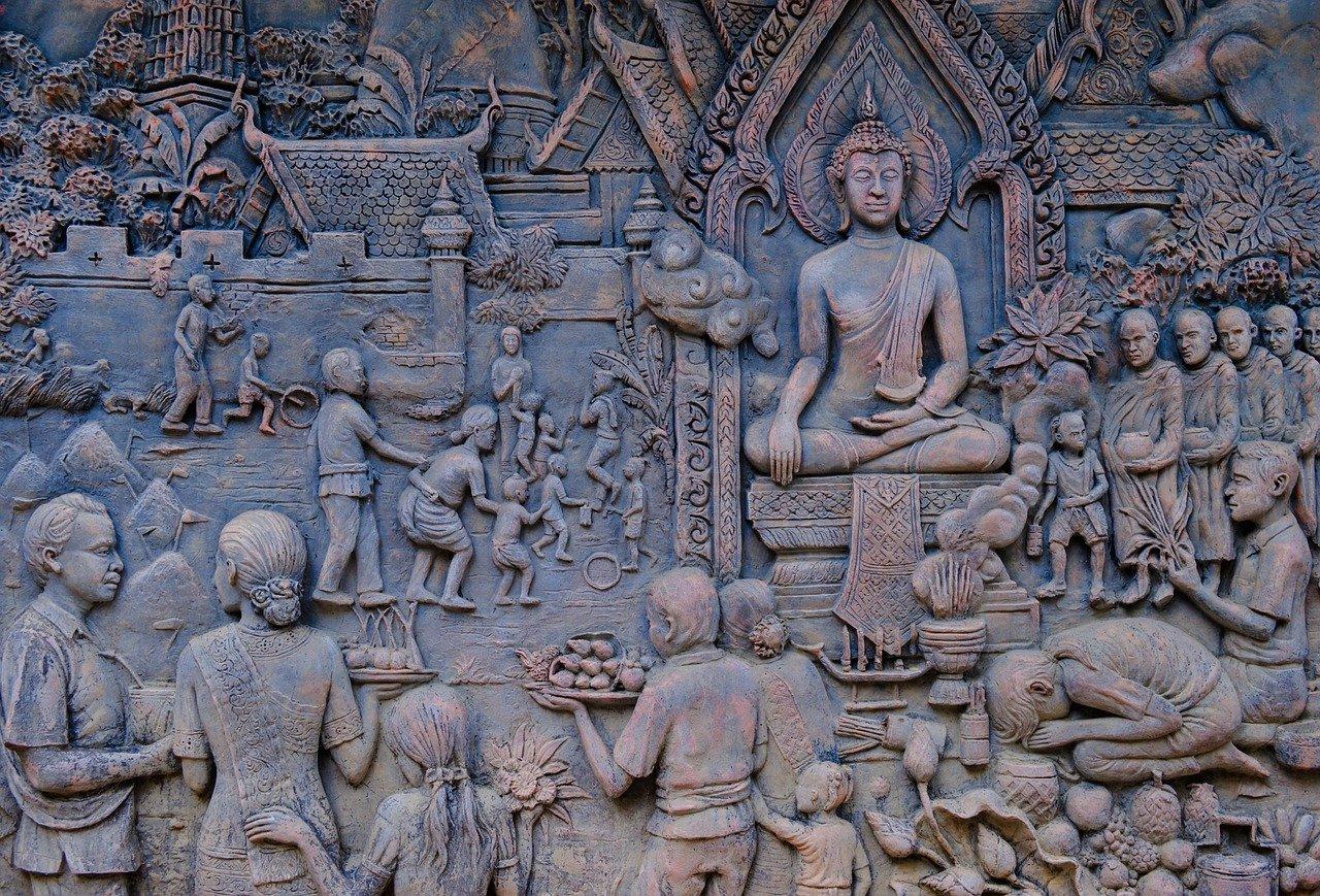 bas relief, buddha, panels
