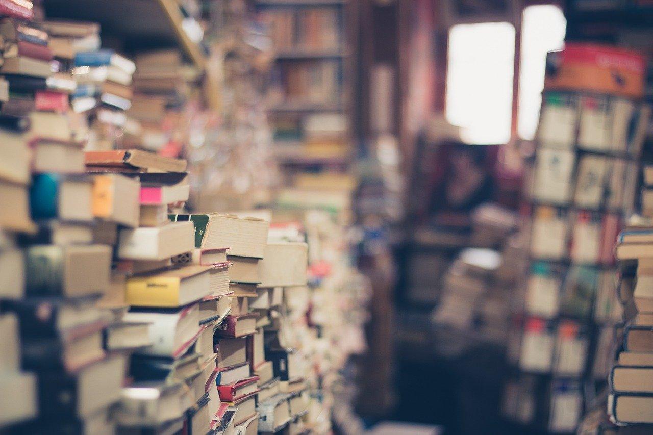 books, stack, book store